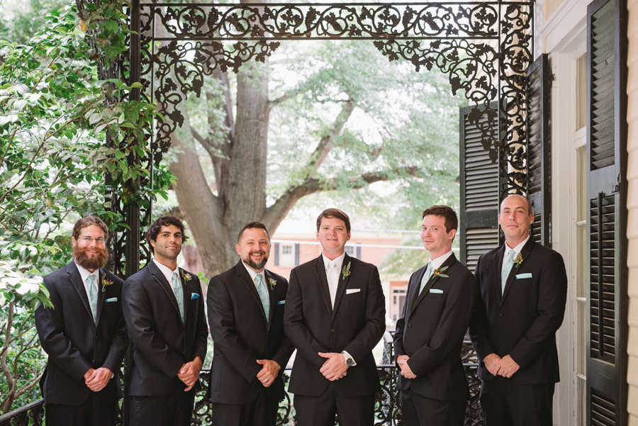 groomsmen lace house porch