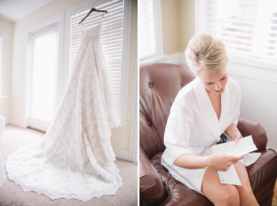 dress hanging bride reading letter