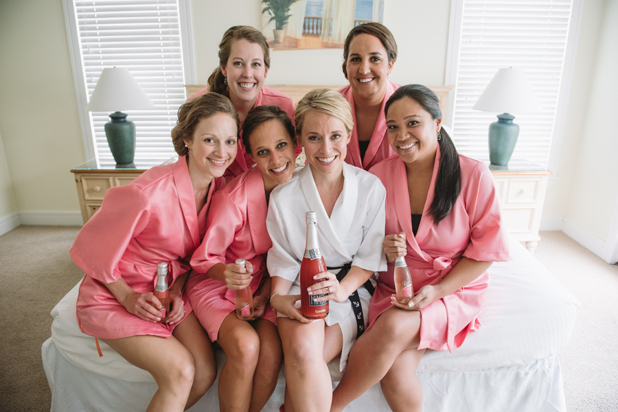 bride bridesmaids champagne toasts