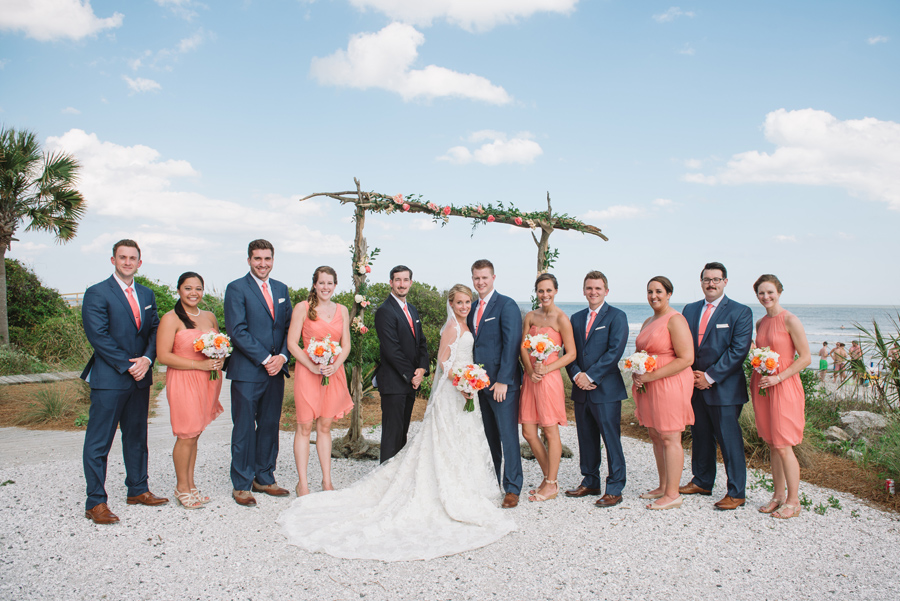 wedding party by the ocean