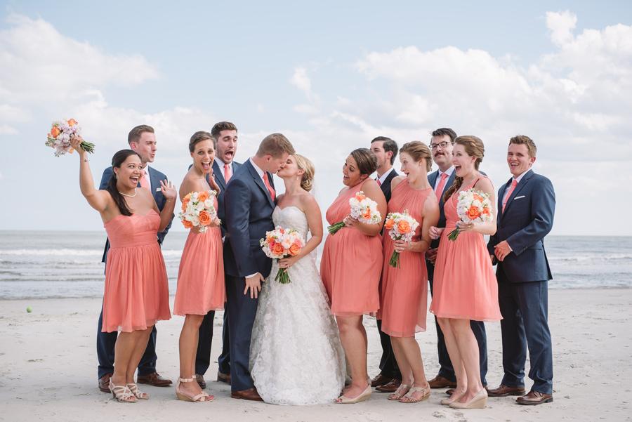 cute bridal party on the beach