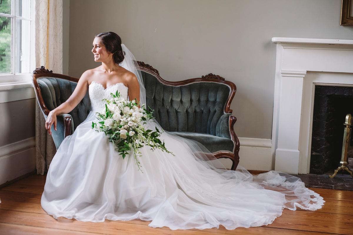 velvet couch bridal portrait