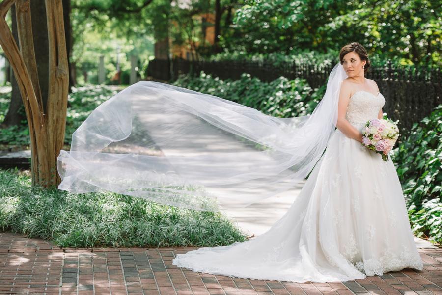 long veil bridal portrait