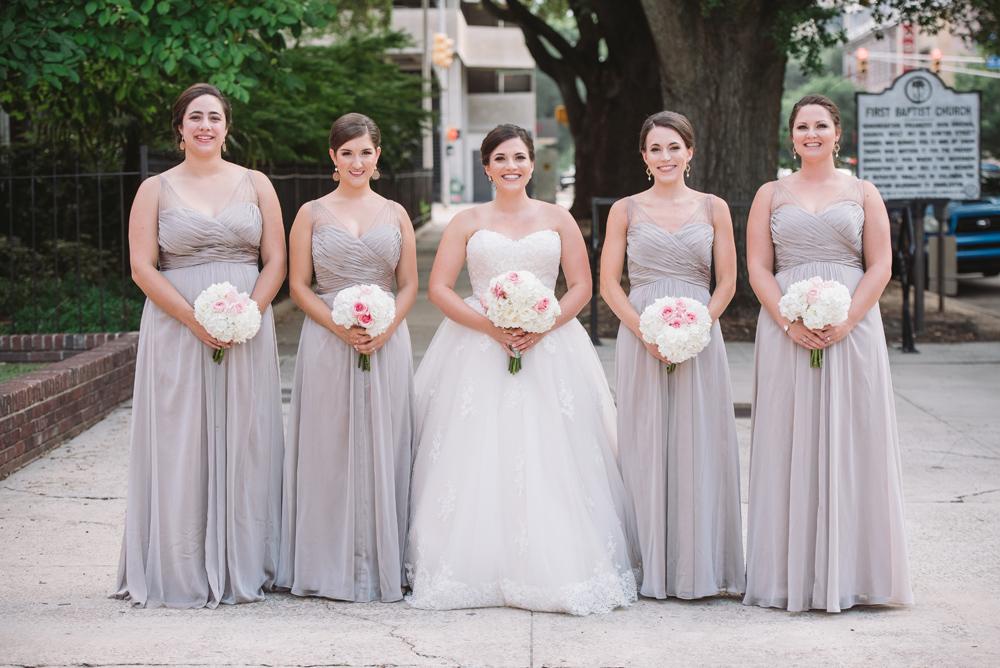 bridal party dove gray dresses