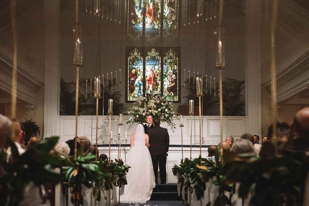 magnolia leaves wedding ceremony