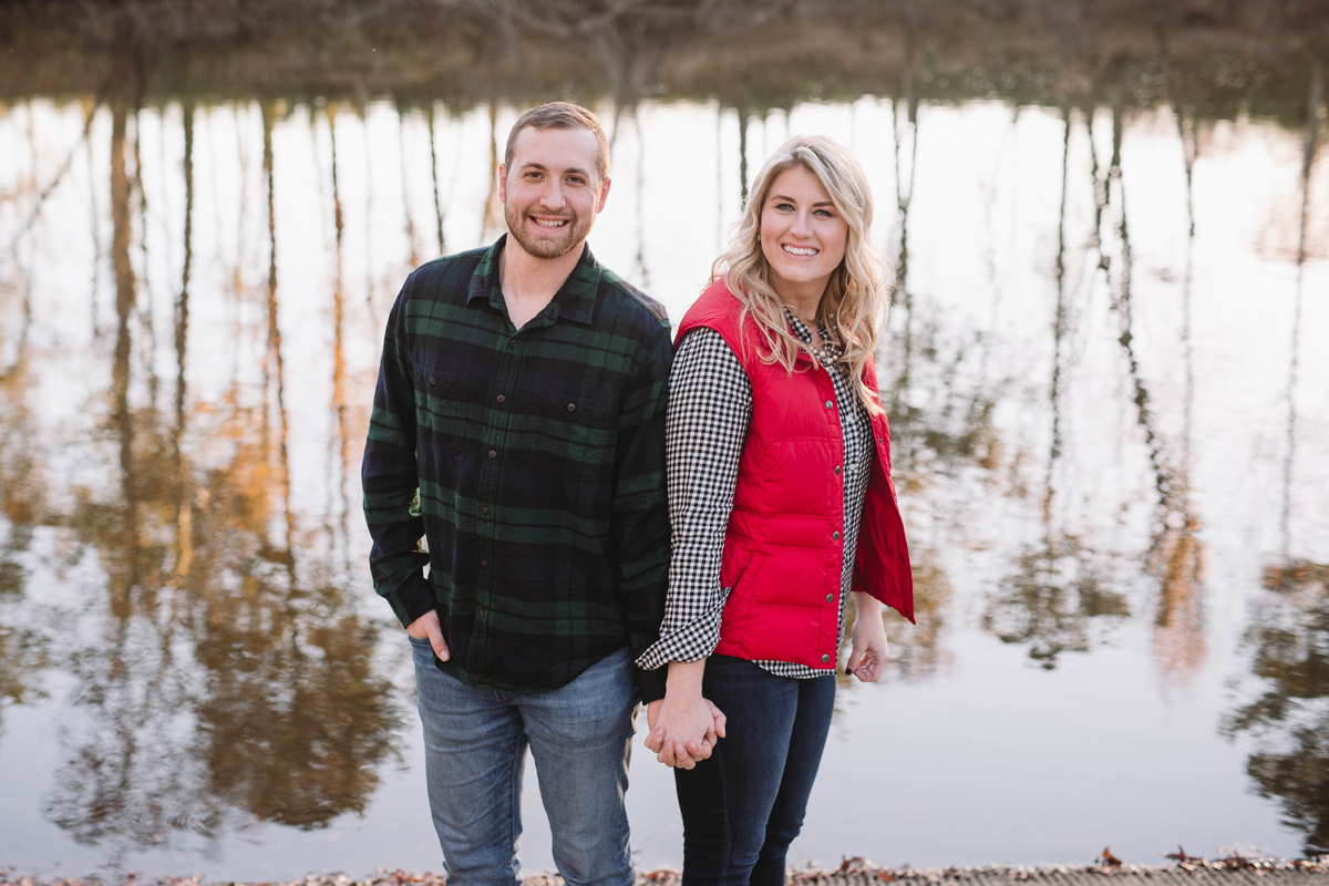 fall engagement session on the river