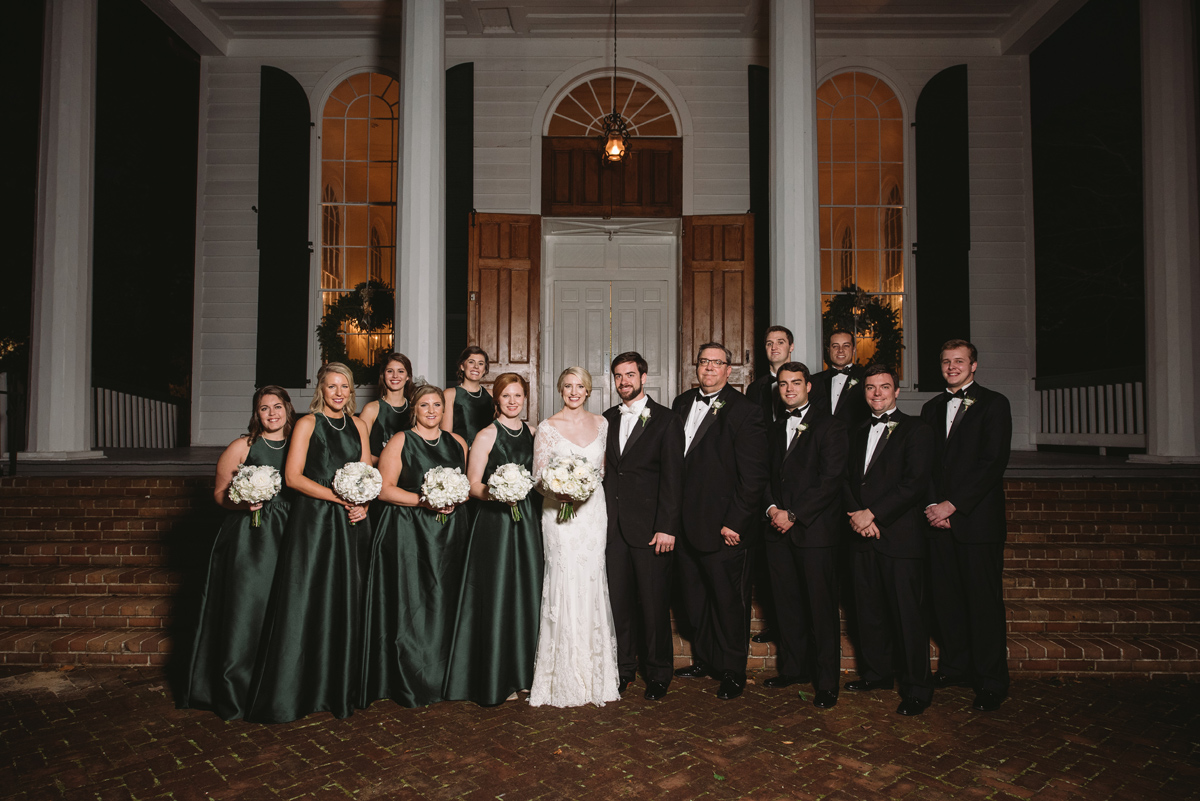 bridal party night time portraits