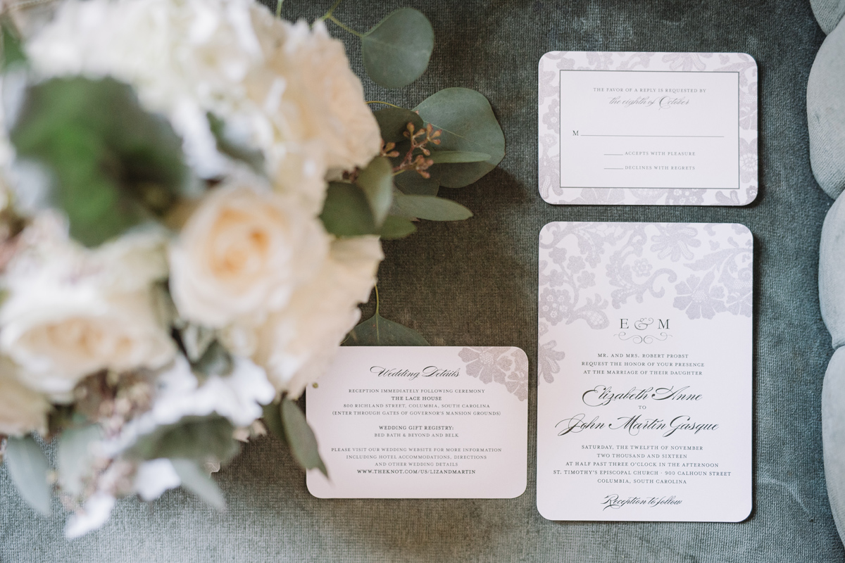 wedding invitation details at sc lace house