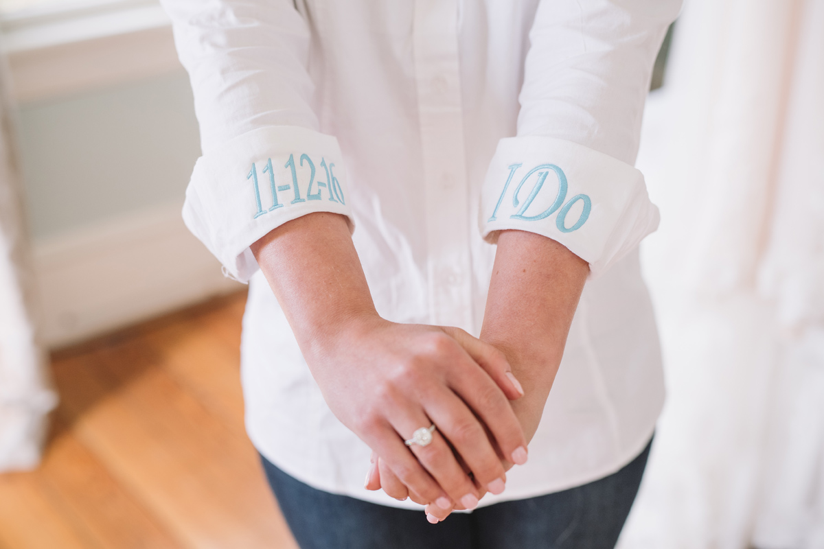 brides details embroidered shirt wedding date