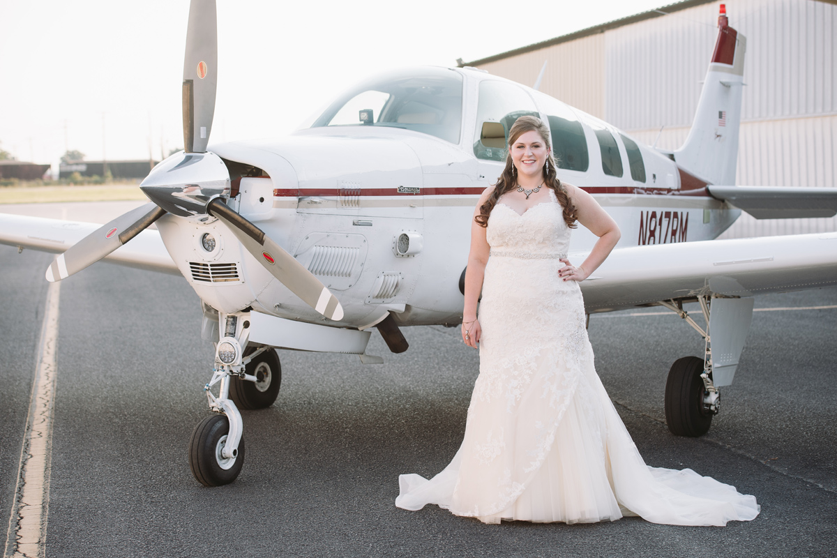bridal portrait at airfield
