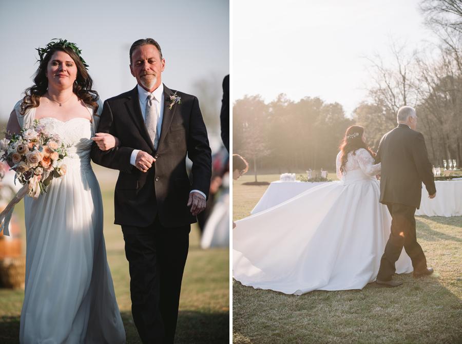 fathers walking brides down aisle