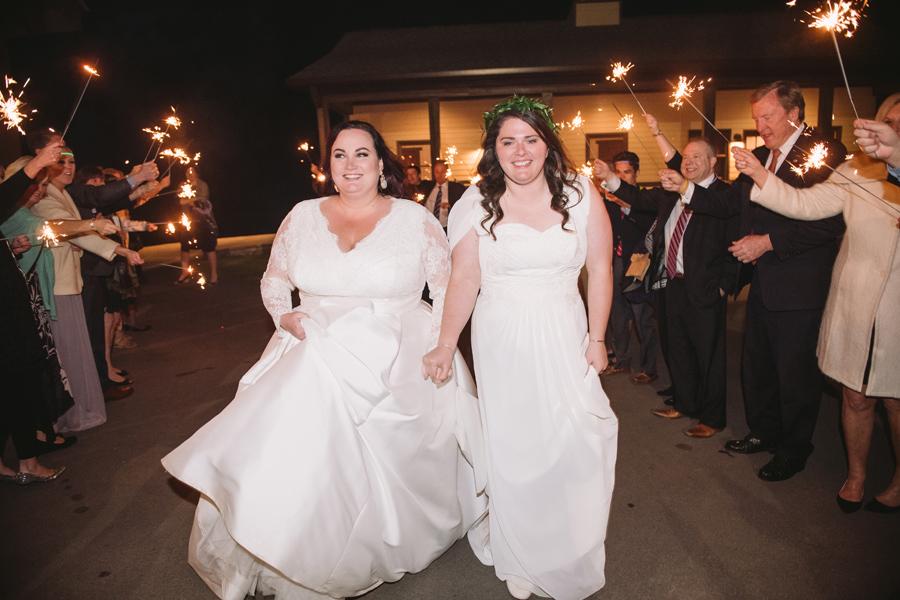 same sex wedding sparkler exit