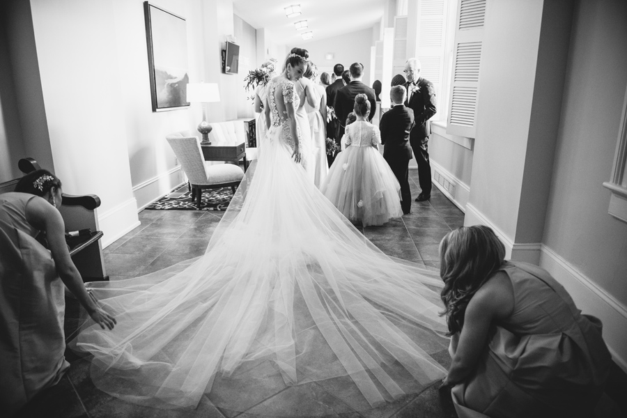 preparing to walk down the aisle