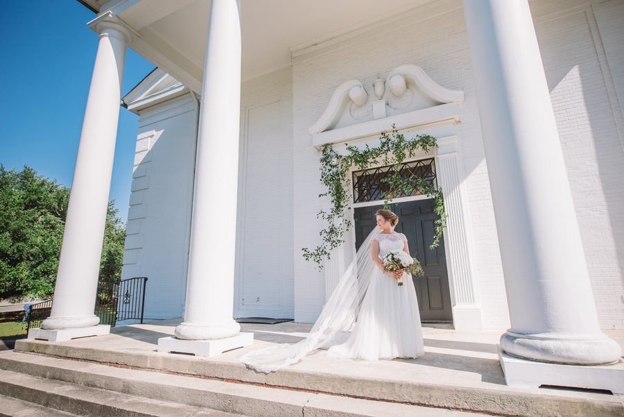 bride in front of church