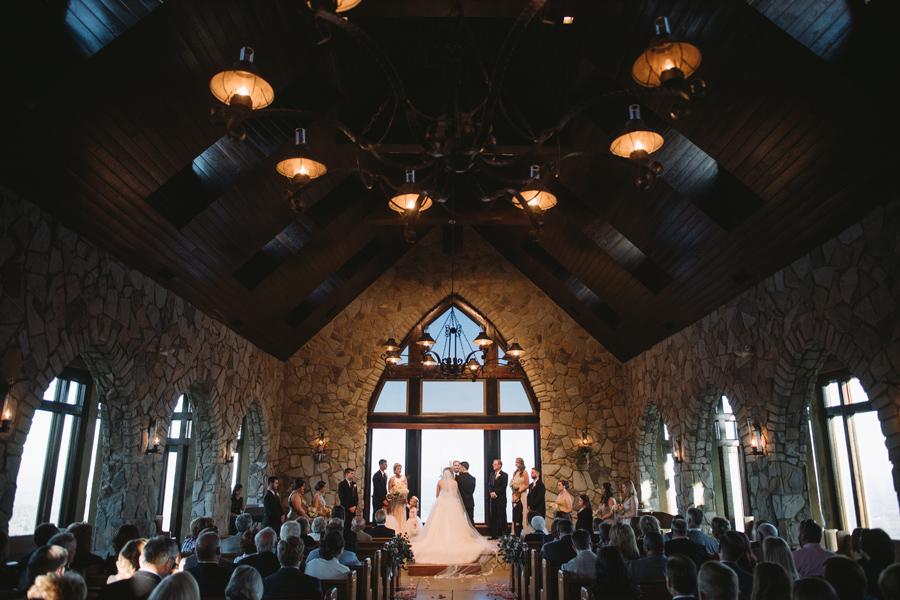 cliffs at glassy chapel wedding