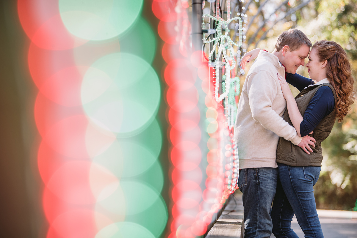 christmas lights engagement photos