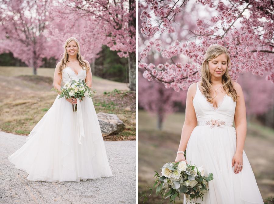 flowering trees bridal portrait