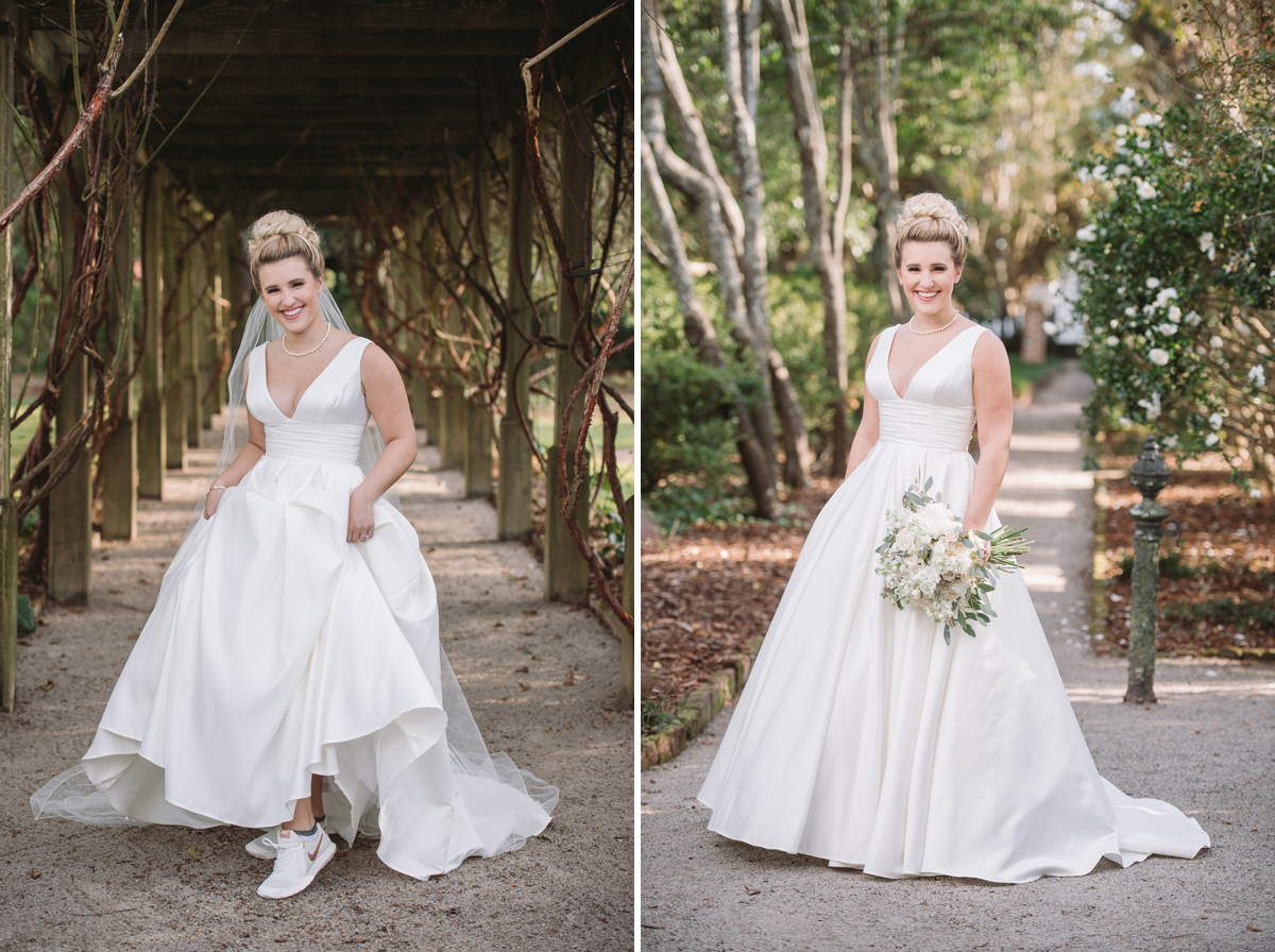 bridal gown with with tennis shoes