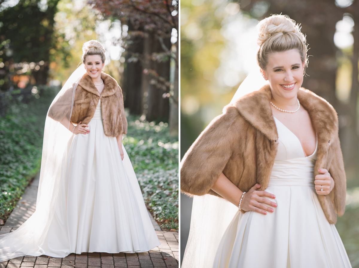 bride with fur wrap