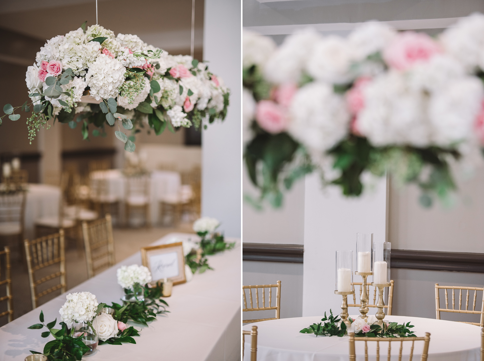 hanging flowers reception