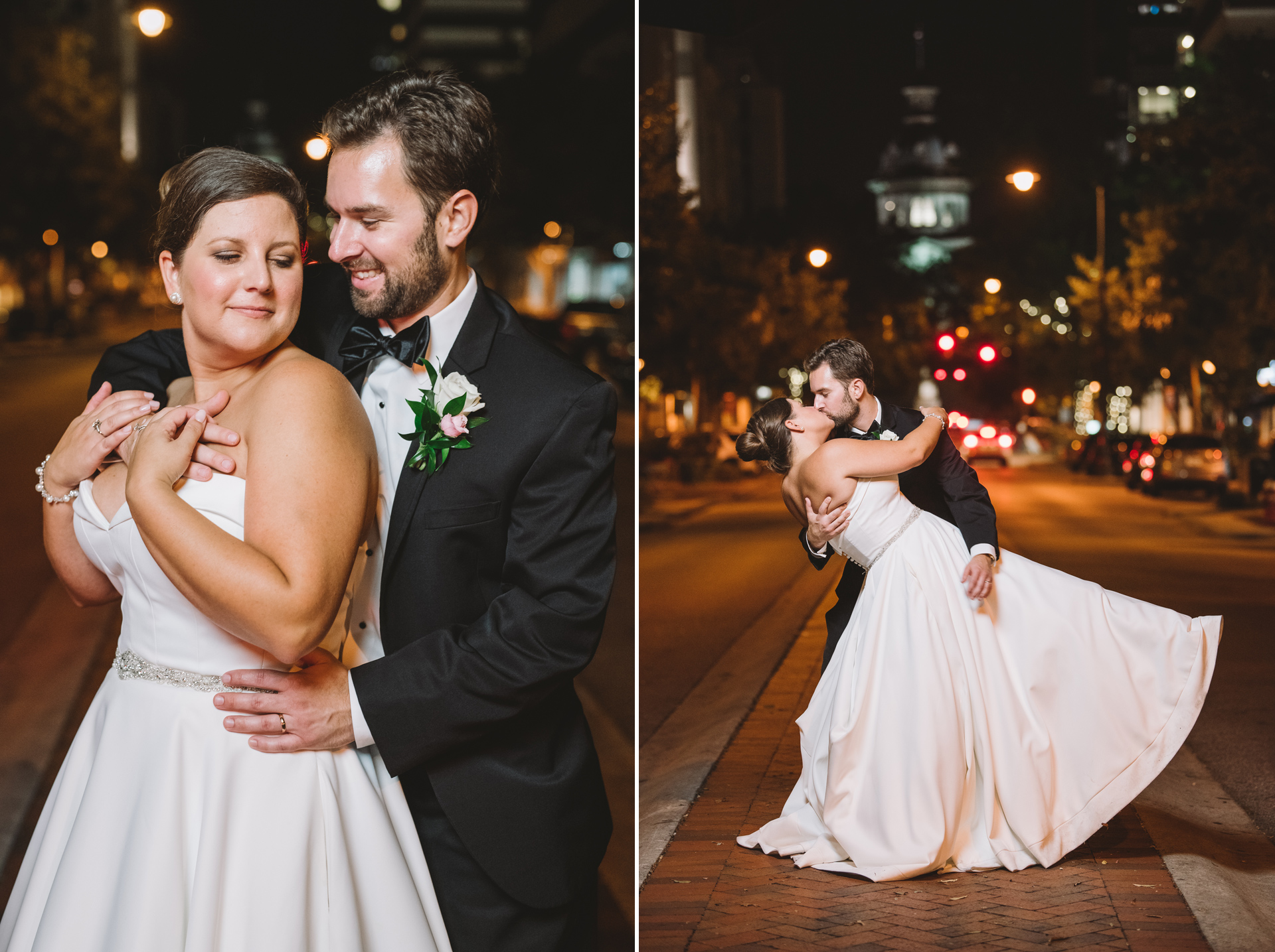 Main street wedding portraits