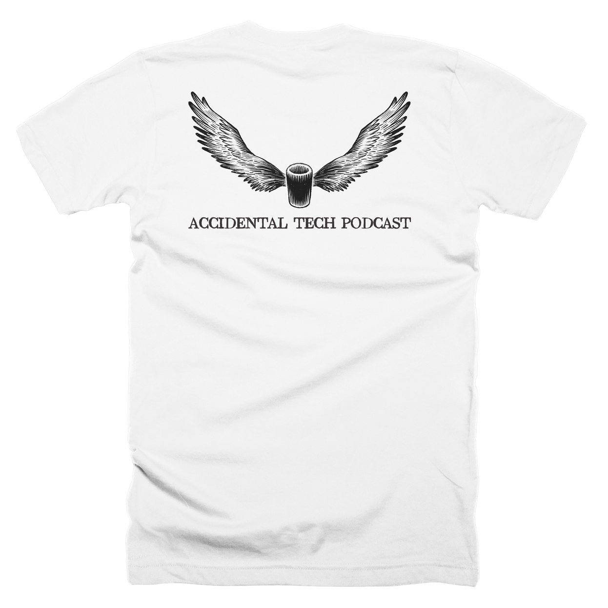 Mac Pro Angel Shirt (White) - The 2013 Mac Pro has haunted ATP since its release. Is it now ascending to heaven, or is it a vengeful angel of death?The image shown is the back of the shirt; the front shows a small ///ATP logo.Available in black and white, tri-blend or 100% cotton.Buy now!