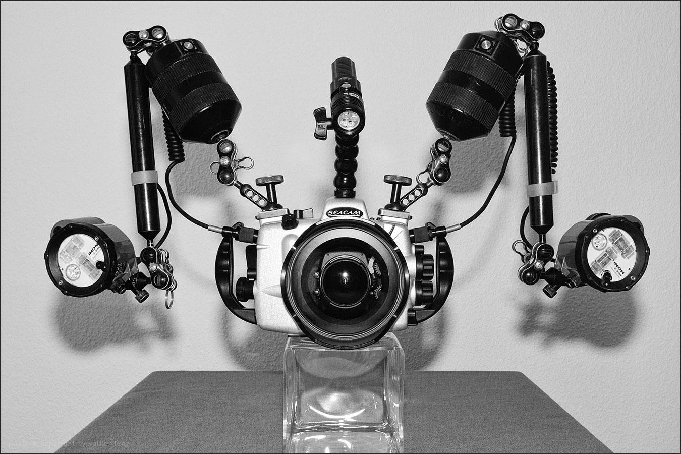 | setup | wideangle | front  | lens 10.5, 20, 12-24 | wideangle port | inon z240 strobe | fix neo 1000 focuslight