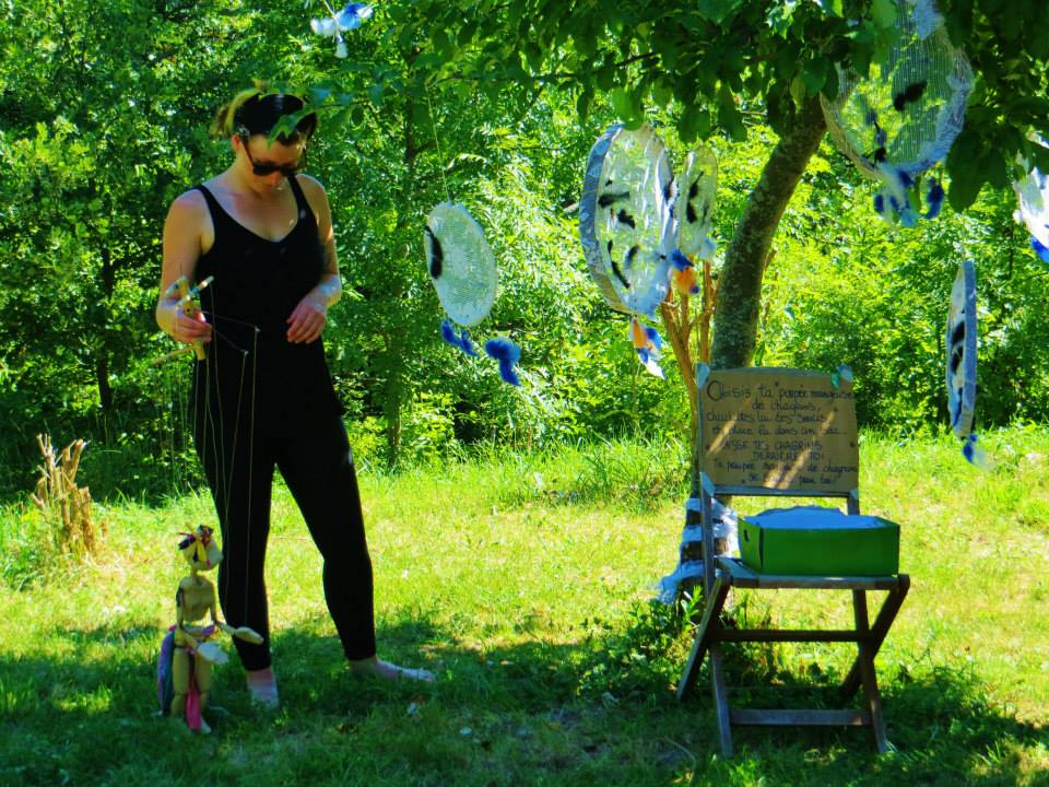 Astrid performing within my installation at the Fest des Marionettes. Photo by Kay Yasugi