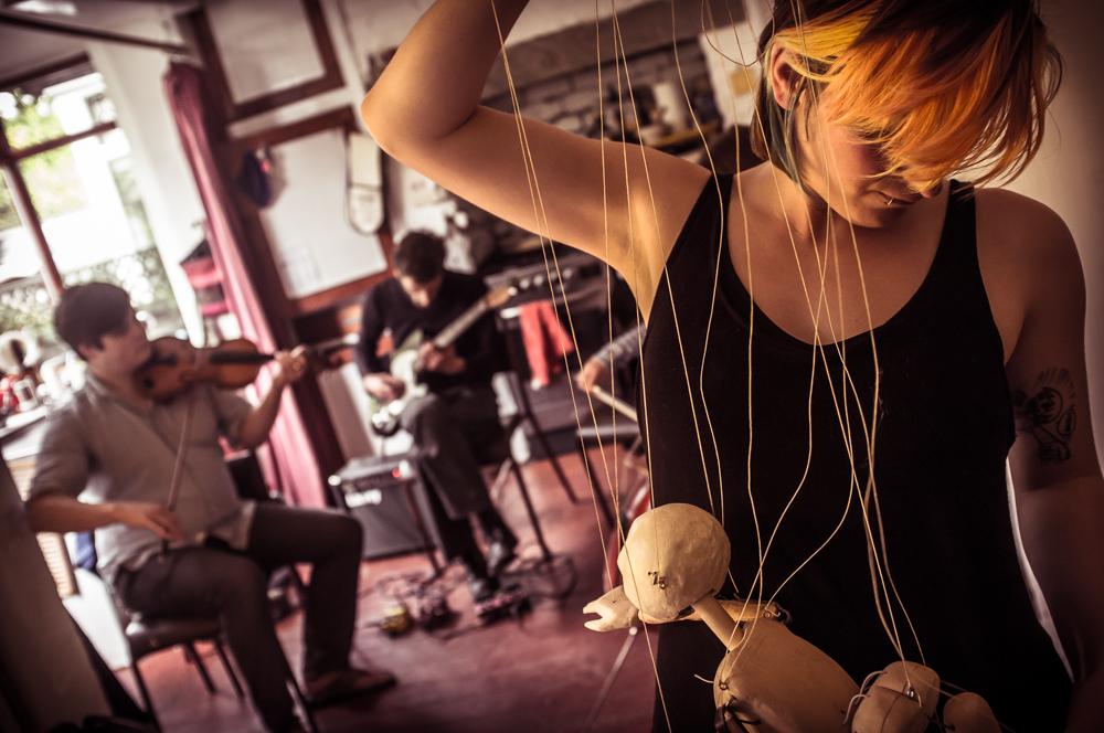 Astrid rehearsing with Stems. Photo by  tedadair.com
