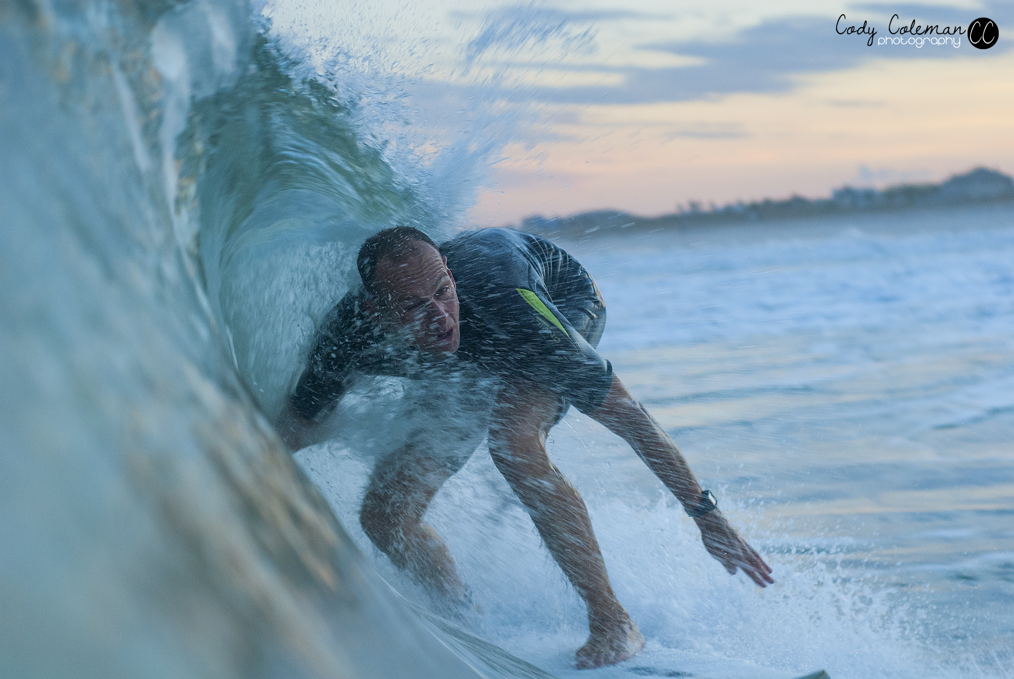Paul Lange got his share of fun waves just before sunset.