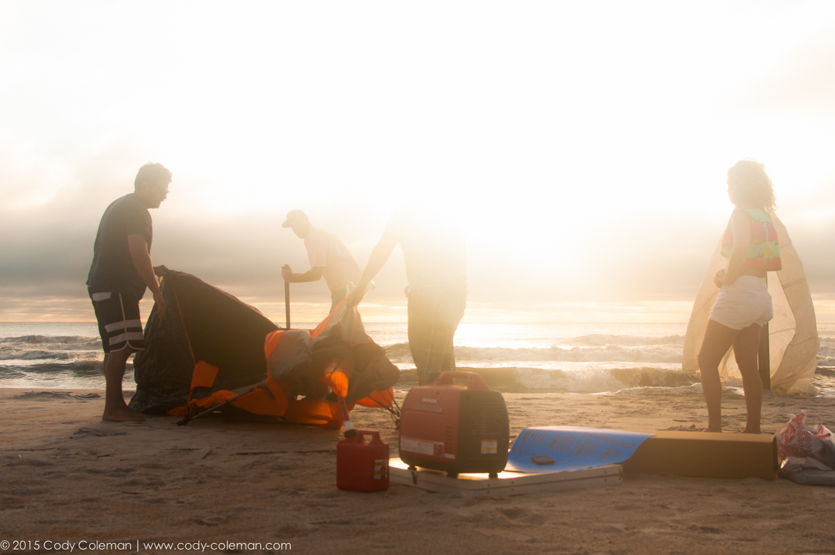 Just as the sun began to break the horizon the tents and contest equipment hit the sand.