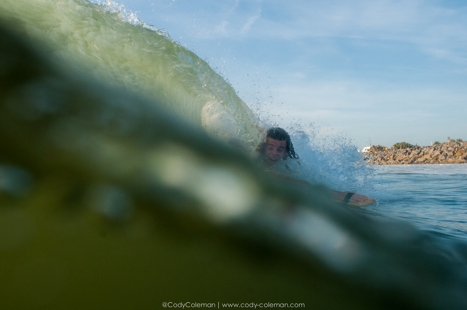 Ryan Conklin putting the hand plane to the test in some fun shorebreak after the tide switch!