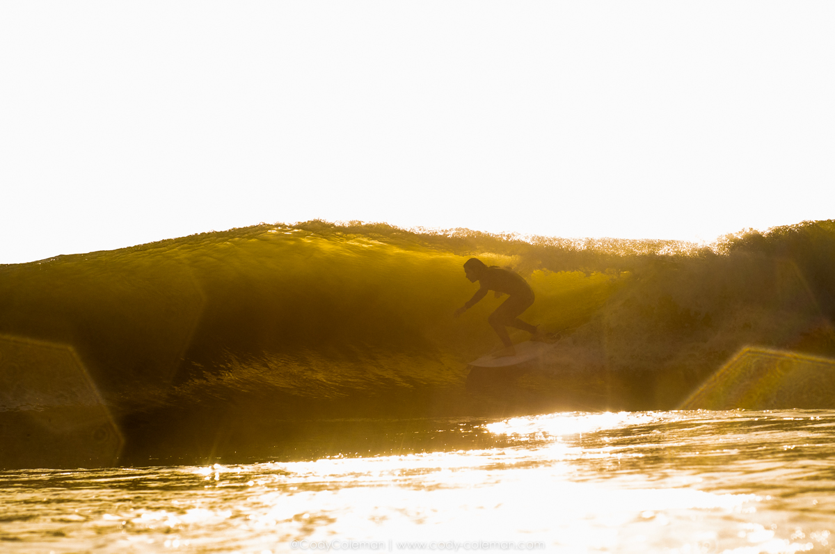 Tuesday Morning Chucky Lanham snagged this golden gem just after the sun broke the horizon. I had the vision of this shot in my head when swimming out and was so stoked when I saw Chucky scrapping into this one right in front of me. Get well soon Buddy
