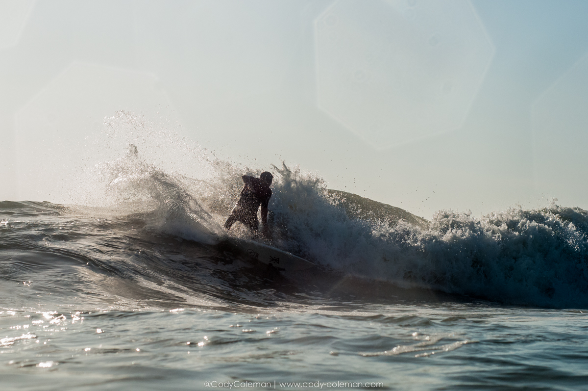 Gabe Kling silhouetted by the morning light on Tuesday morning.