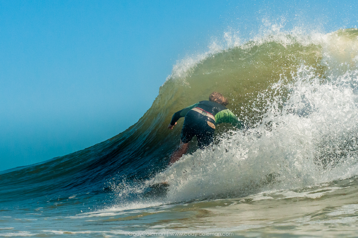 Andrew Gregorie using the backdoor to sneak in without being seen by a shoulder hopper...
