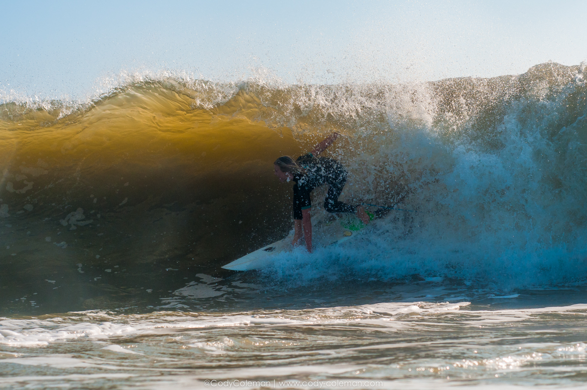 Noah Brownell on a really heavy left. He did not make it out of this wave, but he gave a huge effort. The drop alone was worth the wave...