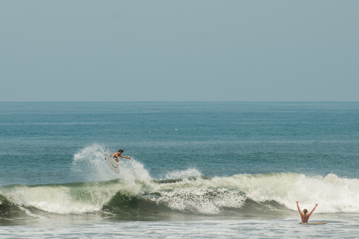 Does not get much better than this right here. Mike P sending it tail to the beach with Andrew in full on stoke mode...