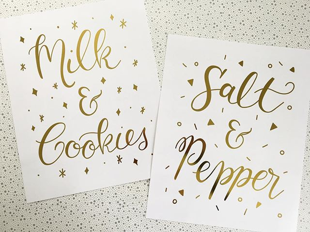 We go together like... Milk & Cookies — Salt & Pepper. Fun signage for a wedding where the party favor was s&p shakers and milk & cookies for dessert! 🥛🍪 . . . Gold foil printed by @foiledagainprints. #calligraphy #moderncalligraphy #handlettering #weddingcalligraphy #milk #cookies #salt #pepper