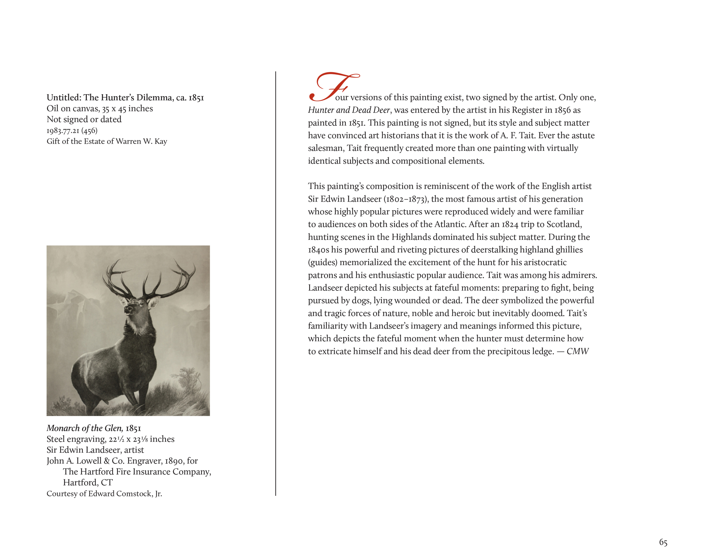 """""""The Adirondack World of A.F. Tait"""" exhibition catalog: sample page   The Adirondack Museum, Blue Mountain Lake, N.Y."""