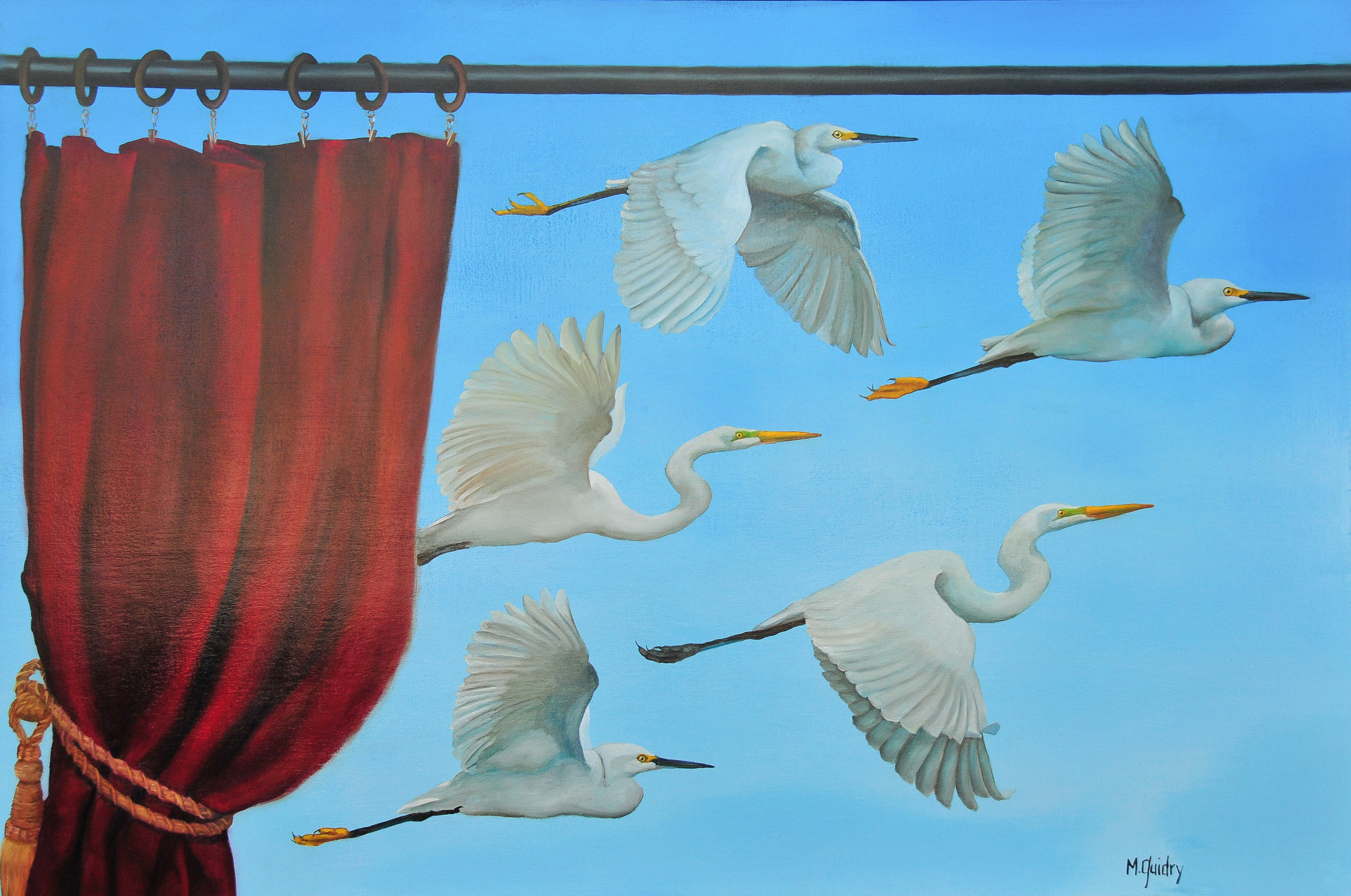 Et_voila_egrets_white_snowy_red_curtain_louisiana_m.guidry_michael_guidry_oil_painting_marsh_new_orleans_artist.jpg.jpg