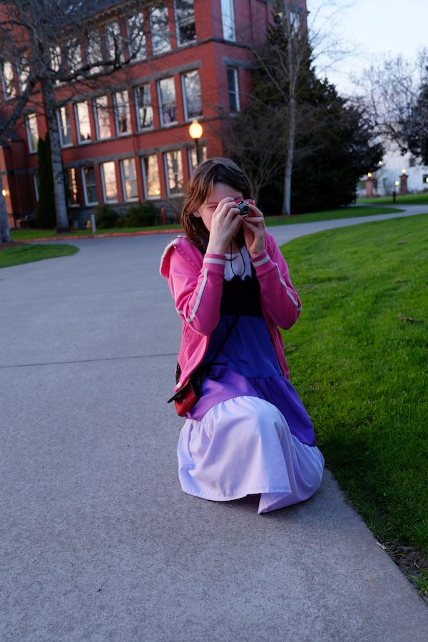Abigail taking shots with the Canon Powershot.