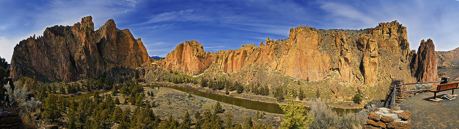 Smith Rock, captured in a 180 degree panorama.