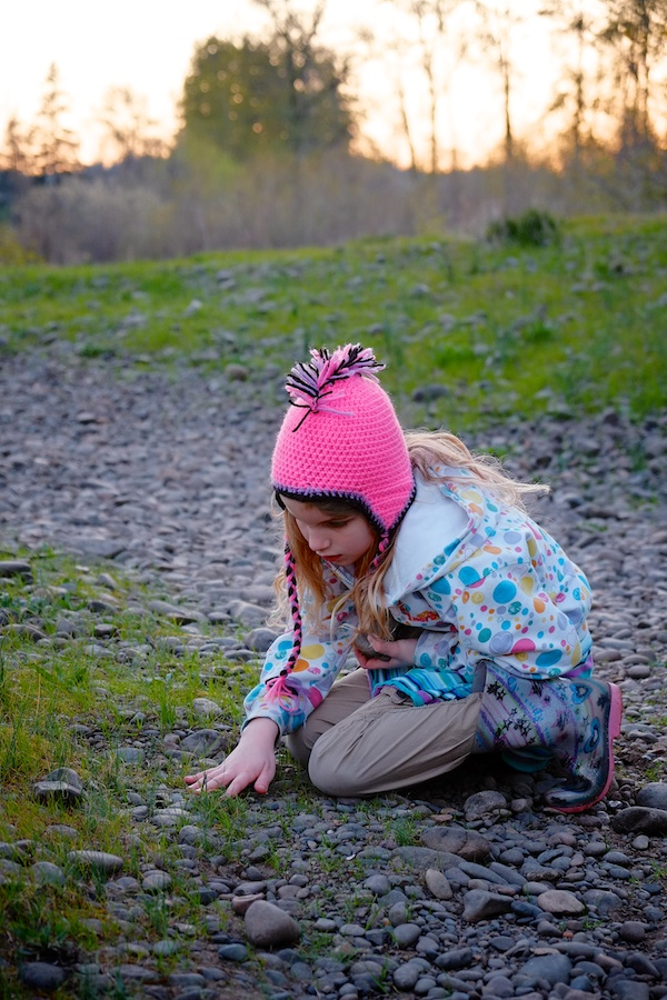 Loading up with skipping rocks - Keizer Rapids Park, Oregon