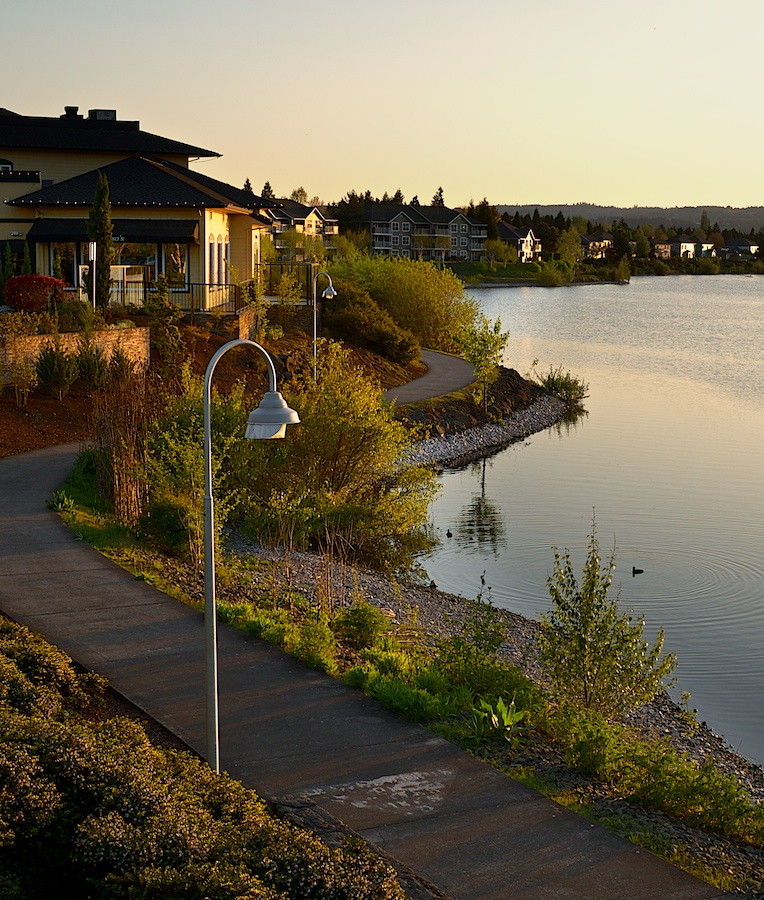 Caruso's Italian restaurant and Staats Lake jogging trails at Sunset. Staats Lake, Keizer, Oregon. FujiFilm XE-1, 18-55mm.