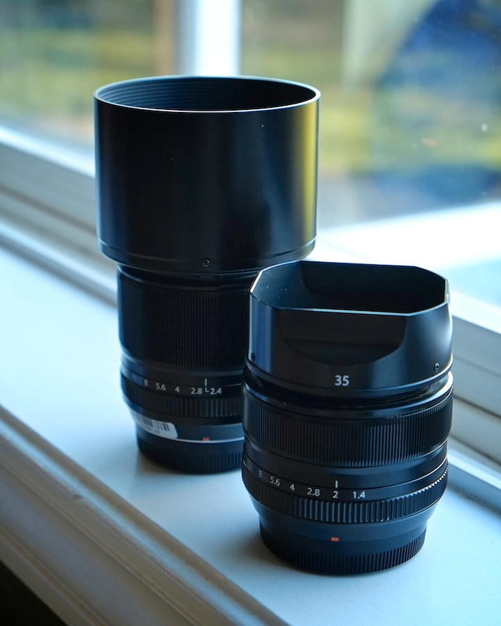 The Fuji 60mm lens is significantly larger than the Fuji 35mm prime, but only slightly so if you take off the hood.
