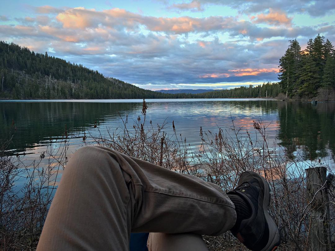 Watching the sunset from our campsite at one of my favorite places, Suttle Lake, at the top of Oregon's Santiam Pass  [ iPhone SE ]