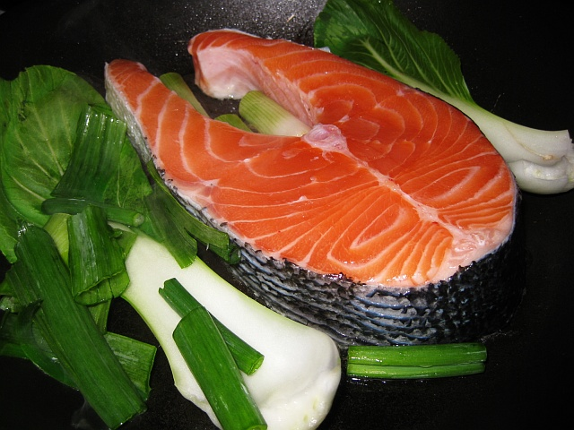 Ketosis Friendly Foods: Healthy, fatty salmon and bok choy.