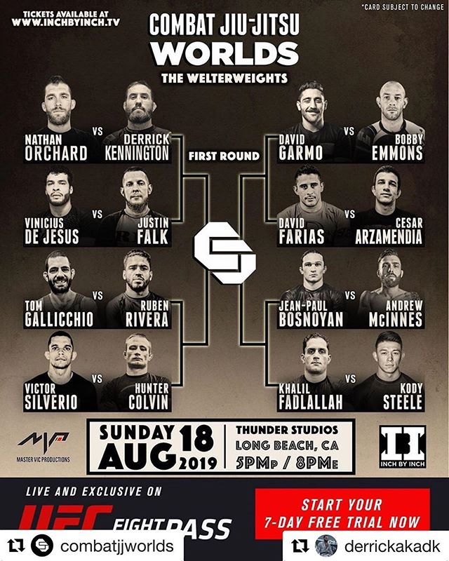 "This weekend, catch my good friend and DiSalvo Performance athlete @derrickakadk at Combat Jiu Jitsu Worlds on UFC Fightpass. I'm proud of all the work he has put in— it's been inspiring and an honor to be a part of.  Getting someone ready for ""Combat Jiu Jitsu"" was a new one for me— and probably any strength coach considering it's a new rule set. I'll elaborate more on the training in the coming weeks, but for now— go kill it Derrick! 💪🏽💪🏽 #Repost @derrickakadk with @repostapp ・・・ Yolo ⚔️ #Repost @combatjjworlds with @get_repost ・・・ THE BRACKET IS HERE! The first round is set, make your picks now! Who's the favorite, who's the dark-horse, who will take home the belt?! Comment below! Grab your tickets now at InchbyInch.tv LINK IN BIO so you don't miss your spot to witness our first Welterweight Champion be crowned!  CJJ Worlds 2019 is LIVE and exclusively on @ufcfightpass - #jitswithhits @eddiebravo10p @victordavilaufc @combatjjworlds @combatjjfightnight @mastervicproductions @ufcfightpass #CJJFN #FinishOnly #CJJ #MVP #UFCFightPass#CJJ #FinishOnly #CombatJiuJitsu #PALMSTRIKES #EBI #CJJW #CJJFN #CJJWORLDS2019"