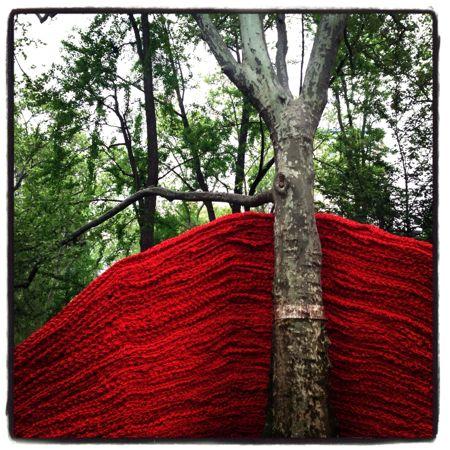 Red art installation