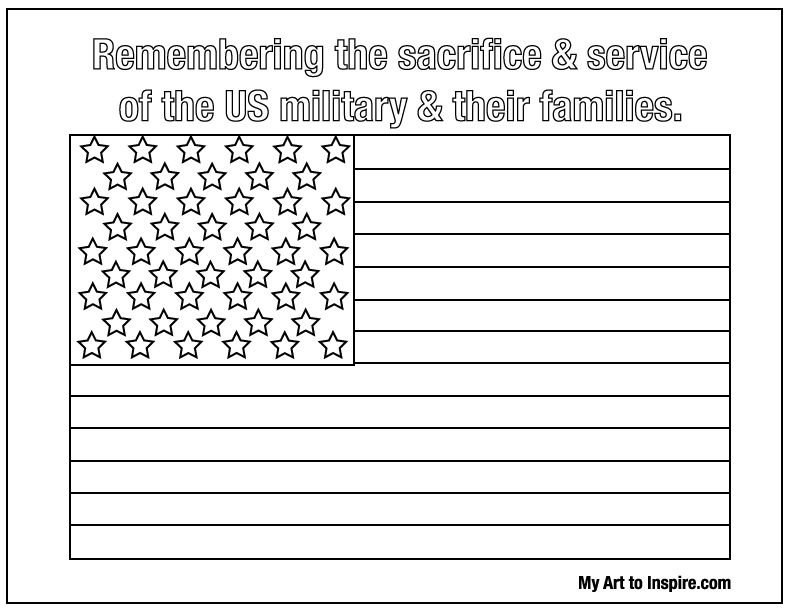 American Flag Coloring Sheet — My Art To Inspire
